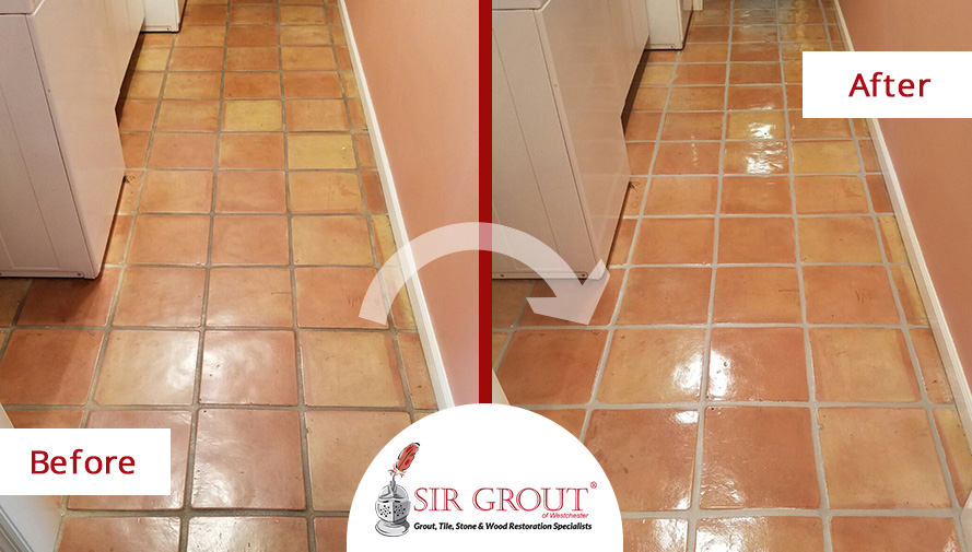 Before And After Pictures of a Grout Sealing in Rye, New York