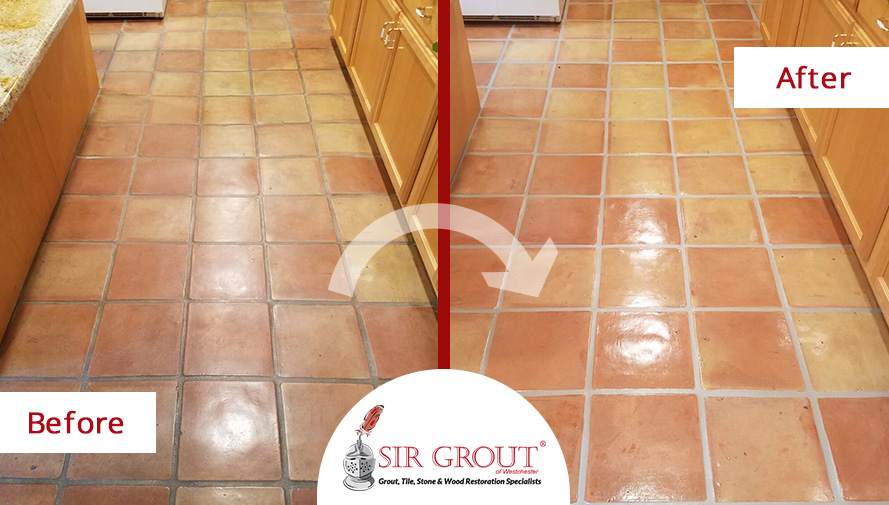 A Grout Sealing Job In Rye New York Leaves This Terracotta Floors - Clean and seal grout lines