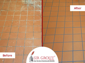 Before and After Picture of a Tile Cleaning Service in Armonk, New York