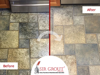 Before and After Picture of a Floor Tile and Grout Cleaning Service in Hawthorne, NY