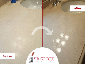 Before and After Picture of a Stone Polishing Service in Briarcliff Manor, NY
