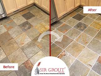 Before and After Picture of a Kitchen Slate Floor Grout Cleaning Service in New Rochelle, New York
