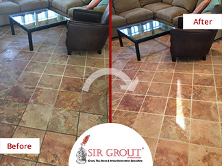 Before and After Picture of a Floor Stone Cleaning Service in Rye, New York