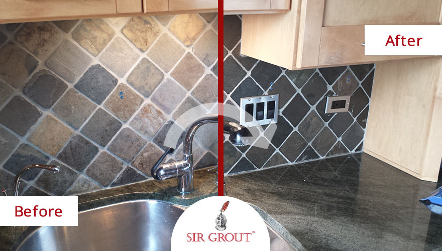 The slate kitchen backsplash in the above photo exemplifies our stone  cleaning and color enhancement process. Using this process on kitchen  backsplashes is ... - Revitalize Stone's Natural Vibrancy With Stone Color Enhancement