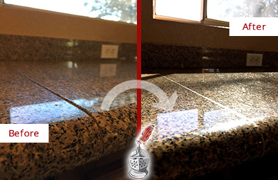 Before And After Picture Of A Honed And Polished Granite Countertop With  Damaged Seam Line ...