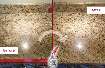 ... Before And After Picture Of A Granite Kitchen Countertop Honed And  Polished To Remove Scratches