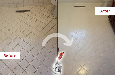 Before and After Picture of Recolored Moldy Shower Grout
