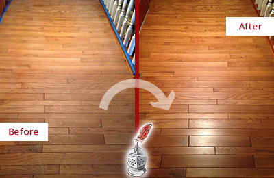 Before and After Picture of a Harrison Wood Sandless Refinishing Service on a Dull Hallway