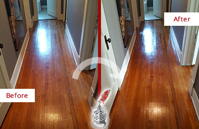 Before and After Picture of a Harrison Wood Sandless Refinishing Service on a Floor to Eliminate Scratches