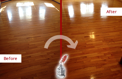 Before and After Picture of a Harrison Wood Sandless Refinishing Service on a Room Floor to Remove Scratches