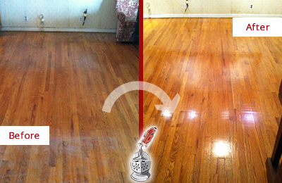Before and After Picture of a Harrison Wood Sandless Refinishing Service on a Stained Floor