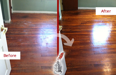 Before and After Picture of a Harrison Wood Sandless Refinishing Service on a Dull Floor to Remove Stains