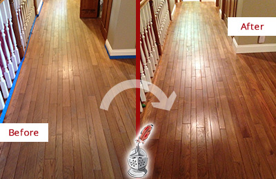 Before and After Picture of a Harrison Wood Sandless Refinishing Service on a Worn Out Floor