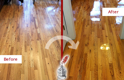 Before and After Picture of a Harrison Wood Sandless Refinishing Service on a Worn Out Hallway