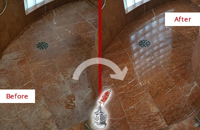 Before and After Picture of a Ossining Marble Stone Shower Polished to Eliminate Mineral Deposits