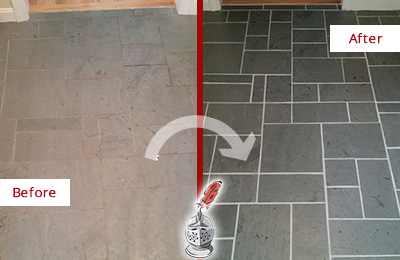 Before and After Picture of a Eastchester Slate Floor Cleaned to Remove Deep-Seated Dirt