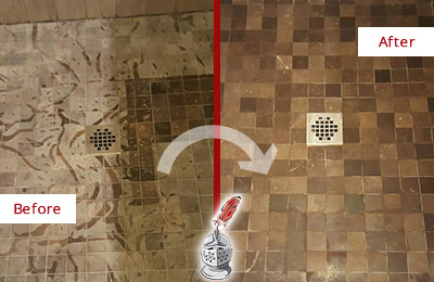 Before and After Picture of a Stained Brewster Marble Shower Floor Cleaned to Remove Etching