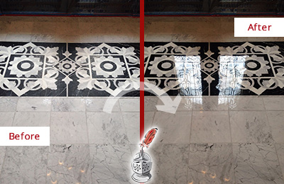 Before and After Picture of a Croton Falls Marble Stone Sealed to Recover Its Sheen