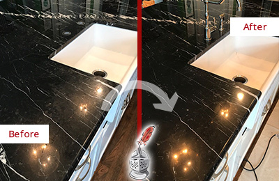 Before and After Picture of a Purdys Marble Kitchen Countertop Stone Sealed to Avoid Water Damage