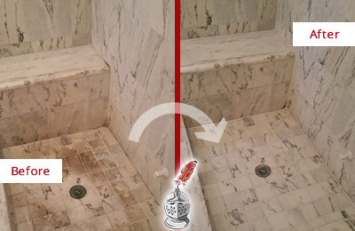 Before and After Picture of a Buchanan Marble Shower Honed to Remove Dark Stains