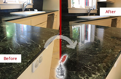 Before and After Picture of a Buchanan Marble Kitchen Countertop Honed to Remove Water Marks