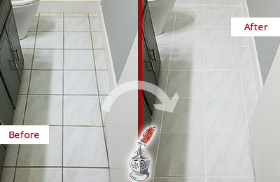 Before and After Picture of a Mohegan Lake White Ceramic Tile with Recolored Grout
