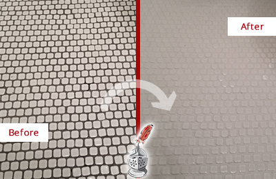 Before and After Picture of a Mohegan Lake White Mosaic Tile Recolored Grout