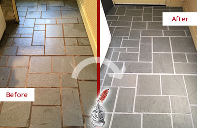 Before and After Picture of Damaged White Plains Slate Floor with Sealed Grout