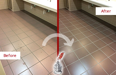 Before and After Picture of Dirty White Plains Office Restroom with Sealed Grout