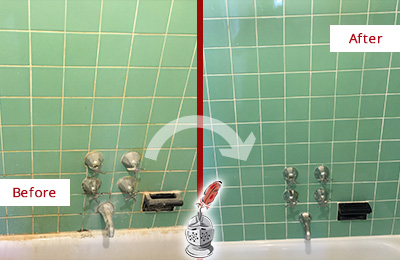 Before and After Picture of a White Plains Bath Tub Grout Sealed to Avoid Water Damage