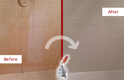 Before and After Picture of a Elmsford Porcelaine Shower Cleaned to Remove Soap Scum