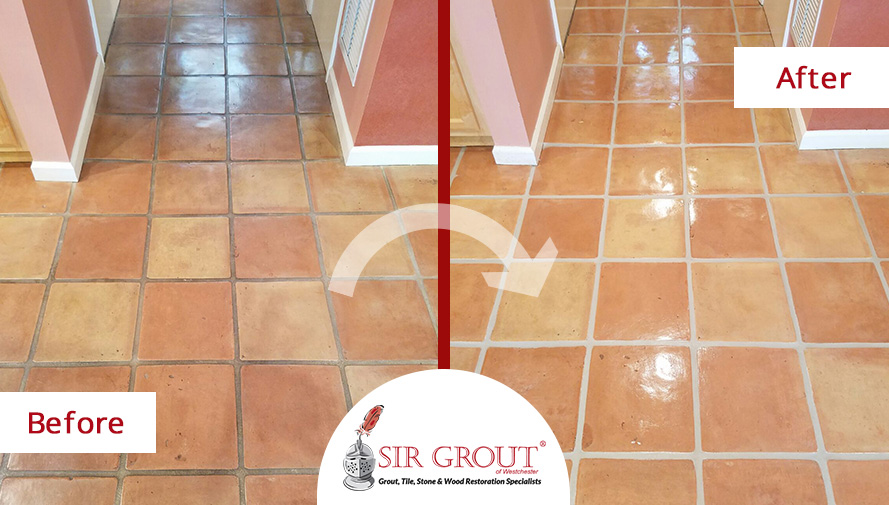 Before and After a Grout Sealing in Rye, New York