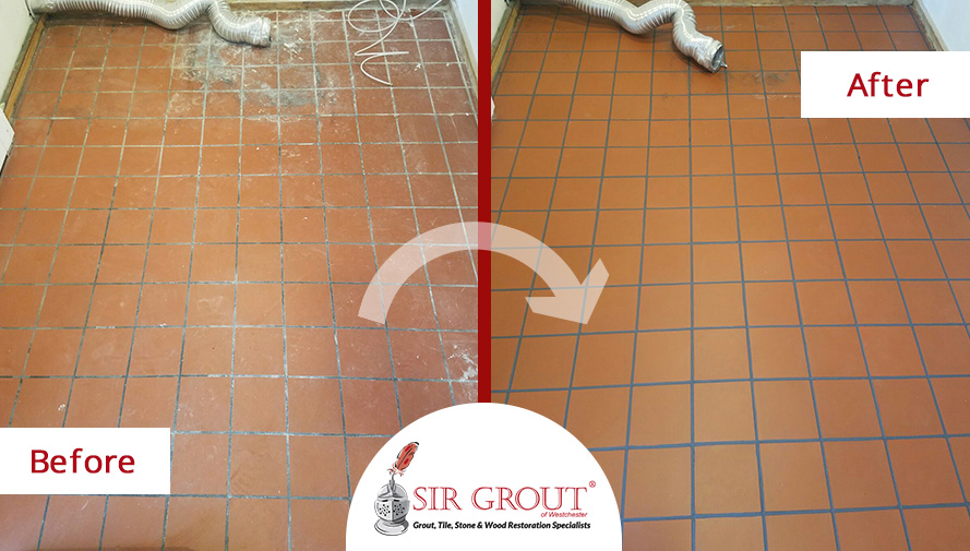 Before and After Picture of a Tile Cleaning in Armonk, New York