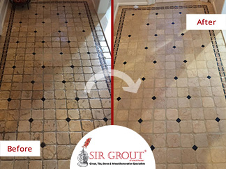 Before and After Picture of a Tumbled Marble Floor Stone Cleaning Service in Scarsdale, New York