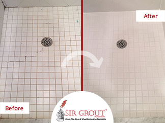 Before and After Picture of a Tile Shower Caulking Service in Yorktown Heights, NY