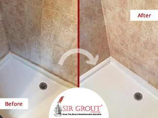 Before and After Picture of a Porcelain Shower Tile Cleaning in Valhalla, New York