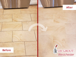 Before and After Picture of a Porcelain Tile Kitchen Floor Grout Sealing Service in Rye, New York