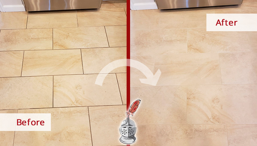 Before And After Picture Of A Porcelain Tile Kitchen Floor Grout Sealing  Service In Rye,