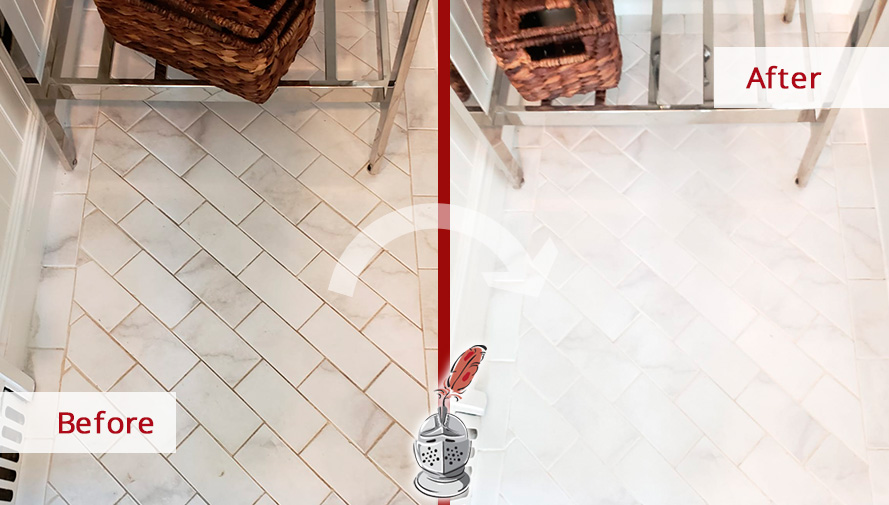 Before and After Picture of a Porcelain Tile Floor Grout Cleaning and Sealing Service in Mamaroneck, NY