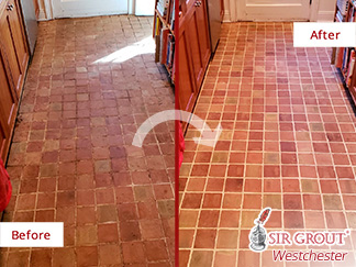 Before and After Picture of a Kitchen Terracotta Floor Tile Cleaning Service in Irvington, New York