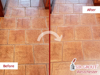 Before and After Picture of a Kitchen Floor Grout Sealing Service in Hawthorne, NY