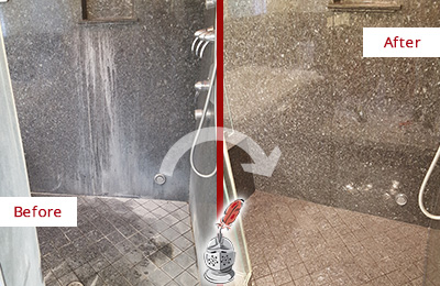 Before and After Picture of a Granite Shower Cleaned and Sealed to Remove Mineral Deposits