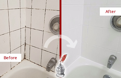 Before and After Picture of a Amawalk Shower Tile and Grout Cleaned to Eliminate Mold