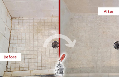 Before and After Picture of a Bedford Hills Shower Caulked to Fix Cracks