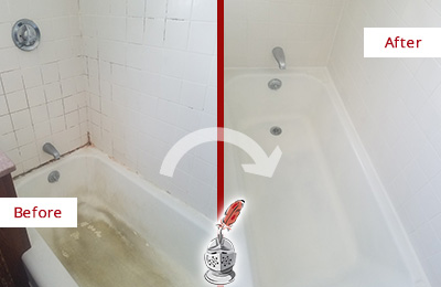 Before and After Picture of a Bedford Hills Bathtub Caulked to Repair Cracks