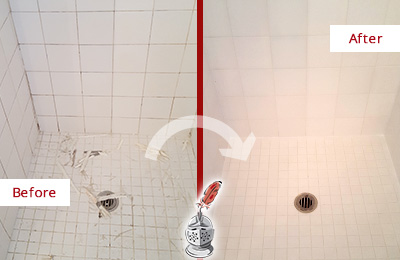 Before and After Picture of a Goldens Bridge Bathroom Re-Caulked To Repair Damaged Caulking