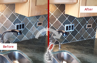 Before and After Picture of a Bedford Hills Backsplash Caulked to Fix and Prevent Water Leaks