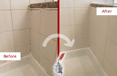 Before and After Picture of a Bedford Hills Shower Caulked to Repair Damaged Caulking
