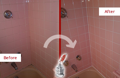 Before and After Picture of a Goldens Bridge Bathtub Caulked to Eliminate Mold