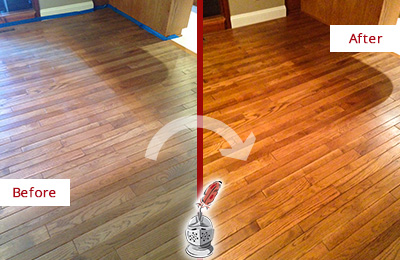 Before and After Picture of a Buchanan Wood Sandless Refinishing Service on a Dull Floor to Recover Its Sheen